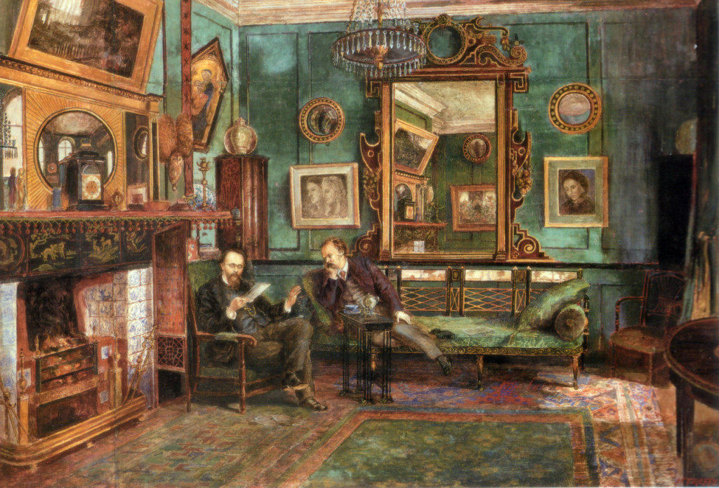 Rossetti reading proofs of Ballads and Sonnets at 16 Cheyne Walk, by Henry Treffry Dunn (1882)