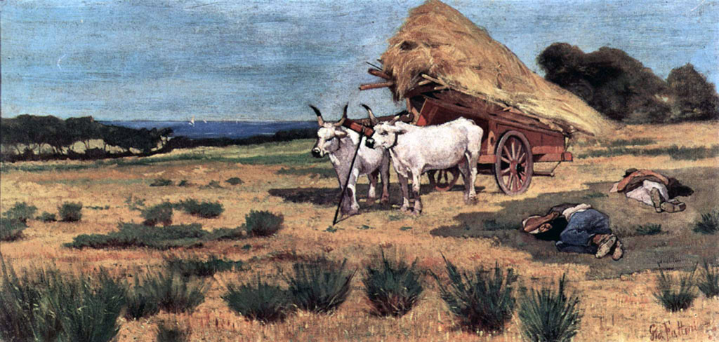 Pause in the Maremma with farmers and ox-cart, 1873–75