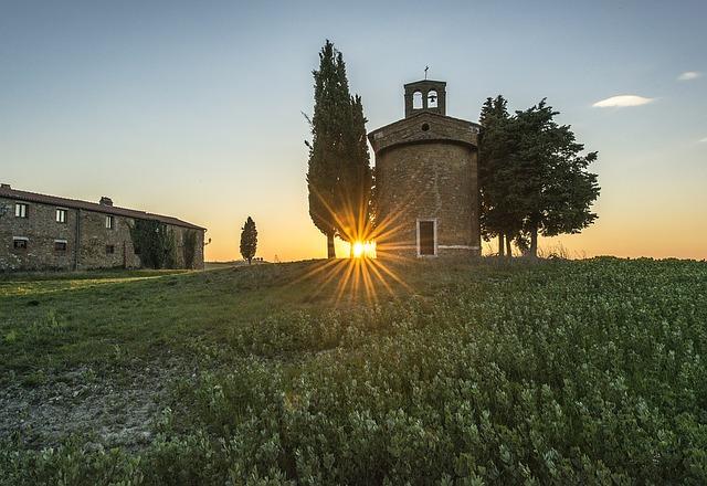 field, tuscany, sunset