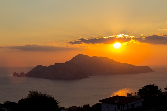 italy, sunset, capri