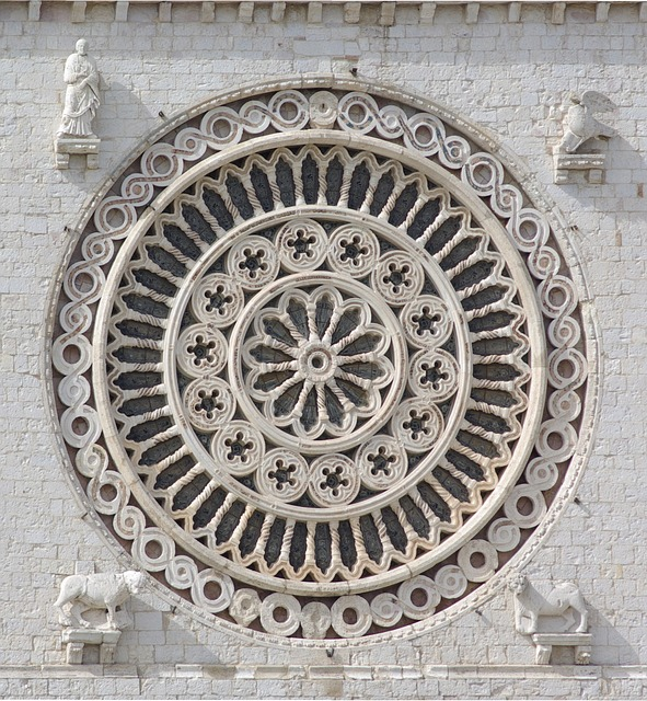 rosette, rose window, basilica of san francesco