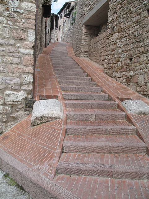 stairs, italy, assisi