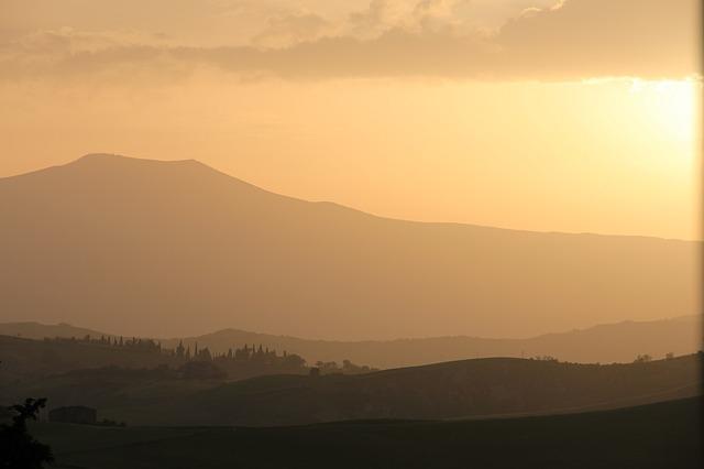 sunset, tuscany, italy