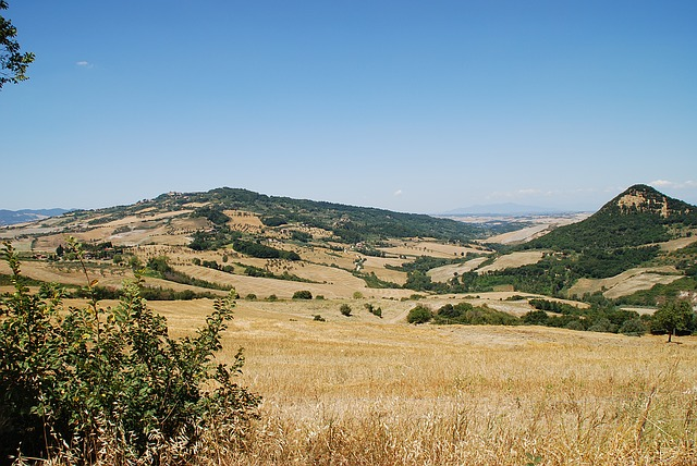 tuscan, hills, fielsd