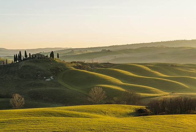 tuscany, sun, landscape