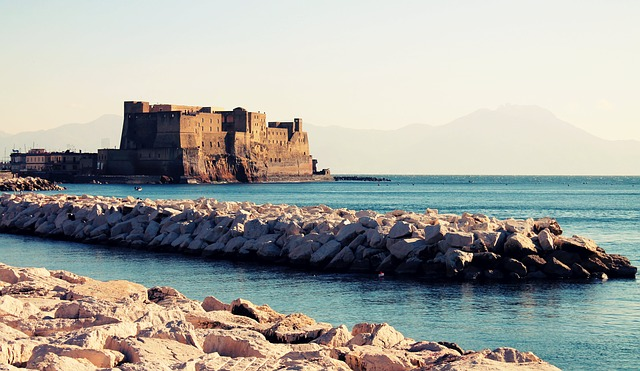 naples, sea, castle