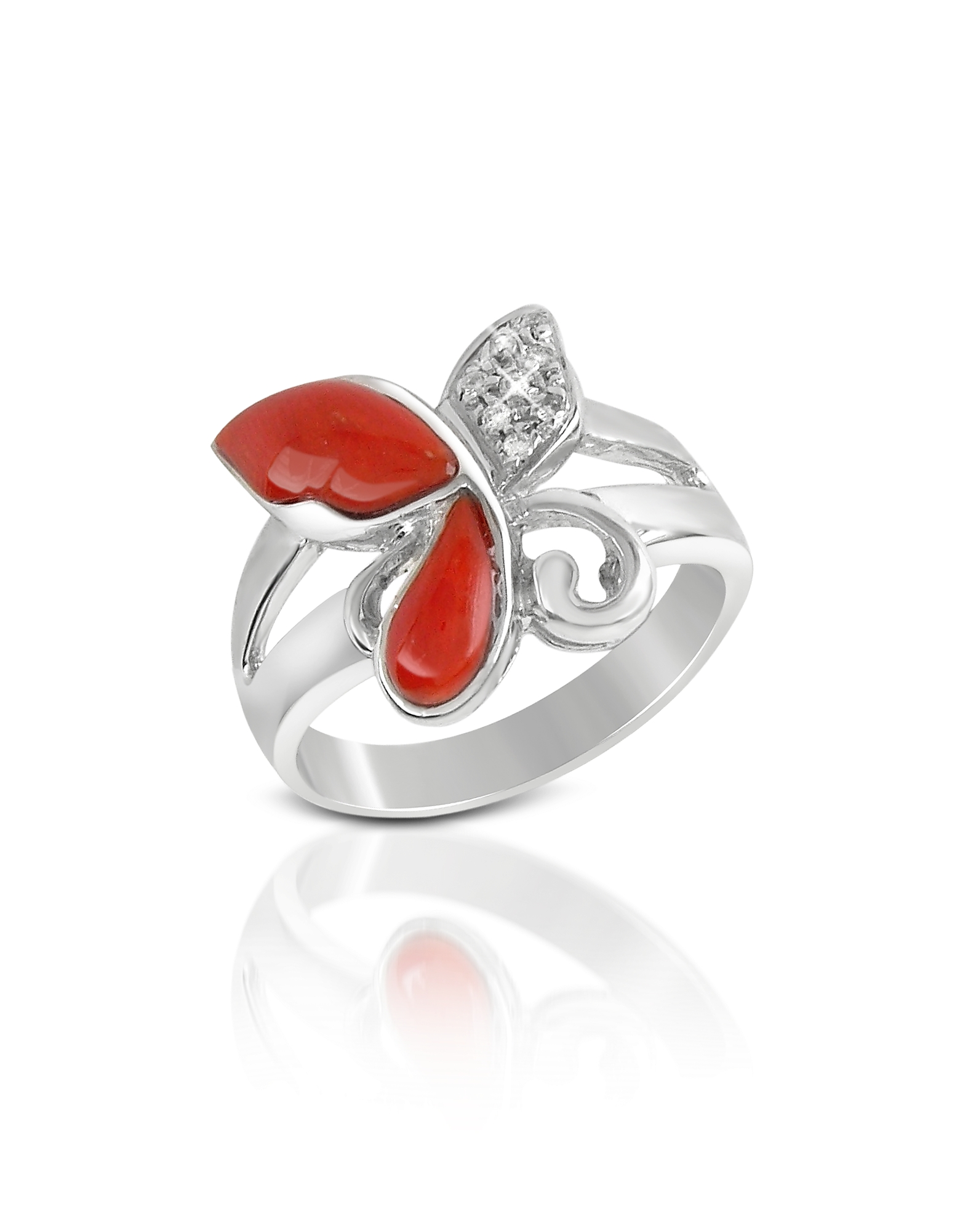 Del Gatto Designer Rings, Diamond and Red Coral Butterfly 18K Gold Ring