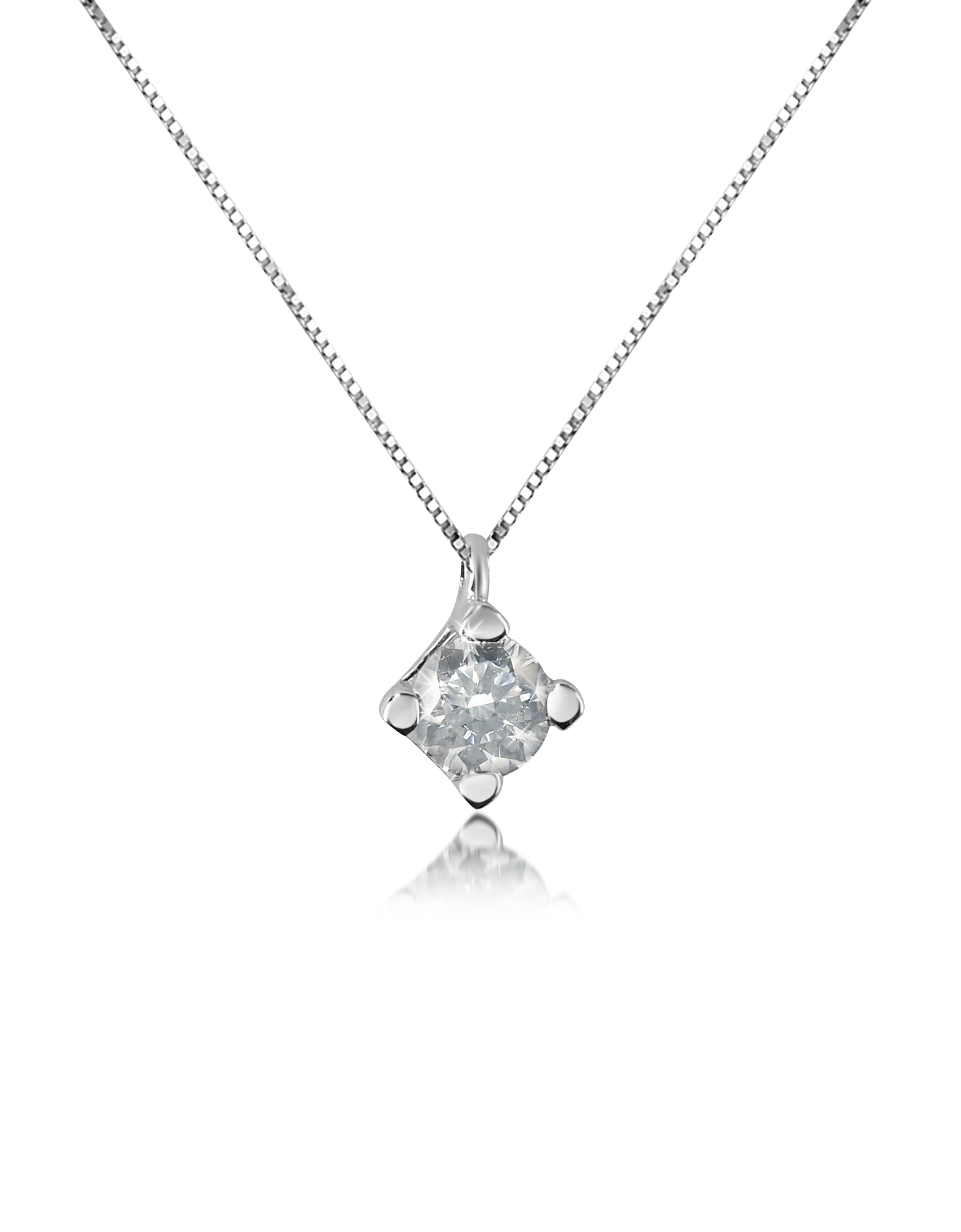 Forzieri Designer Necklaces, 0.15 ct Diamond Solitaire Pendant 18K Gold Necklace