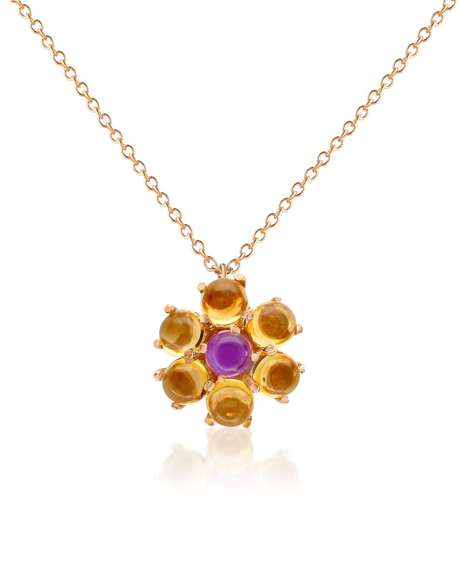 Forzieri Designer Necklaces, Amethyst and Citrine Flower 18K Gold Pendant Necklace
