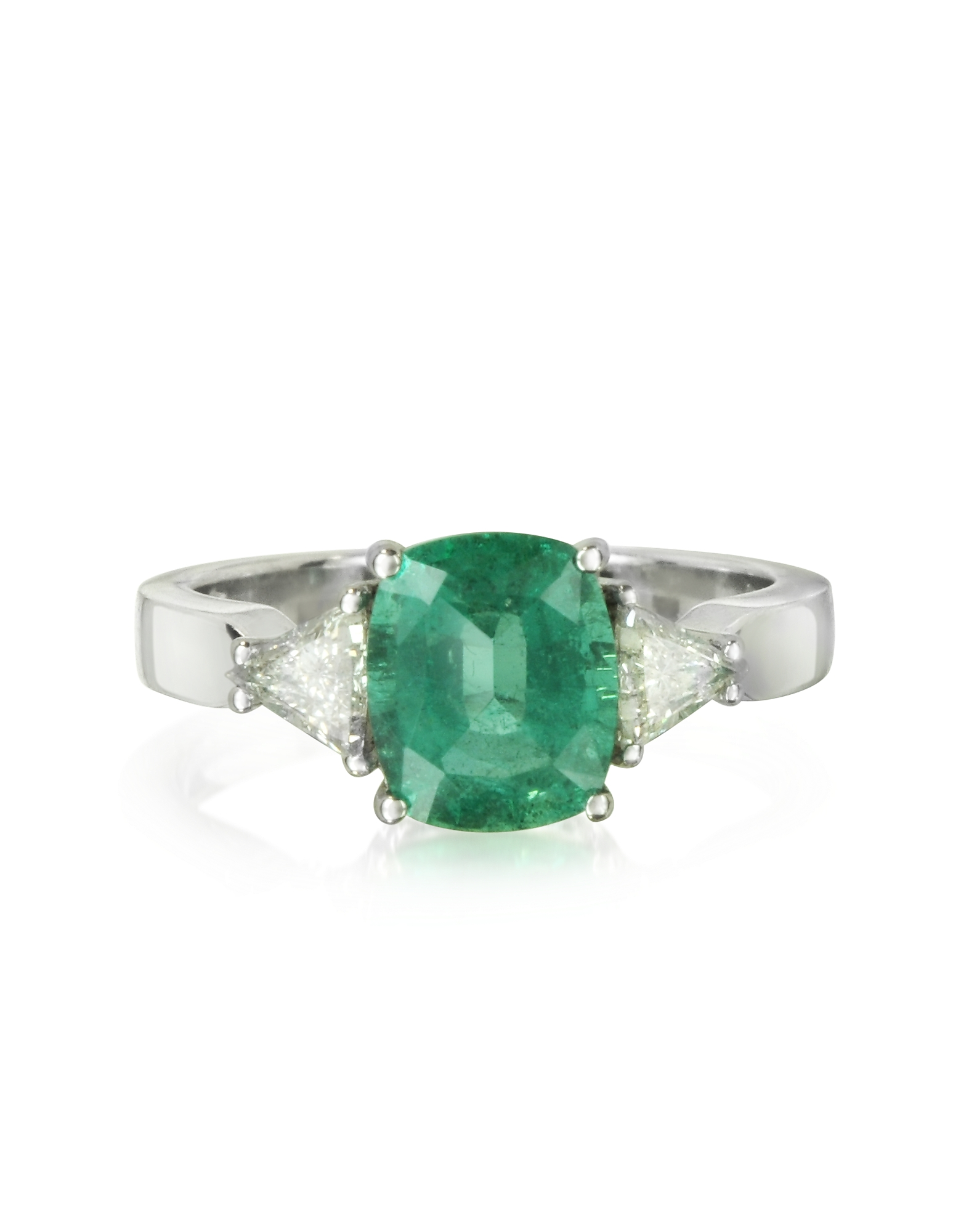 Forzieri Designer Rings, Emerald and Diamond White Gold Ring