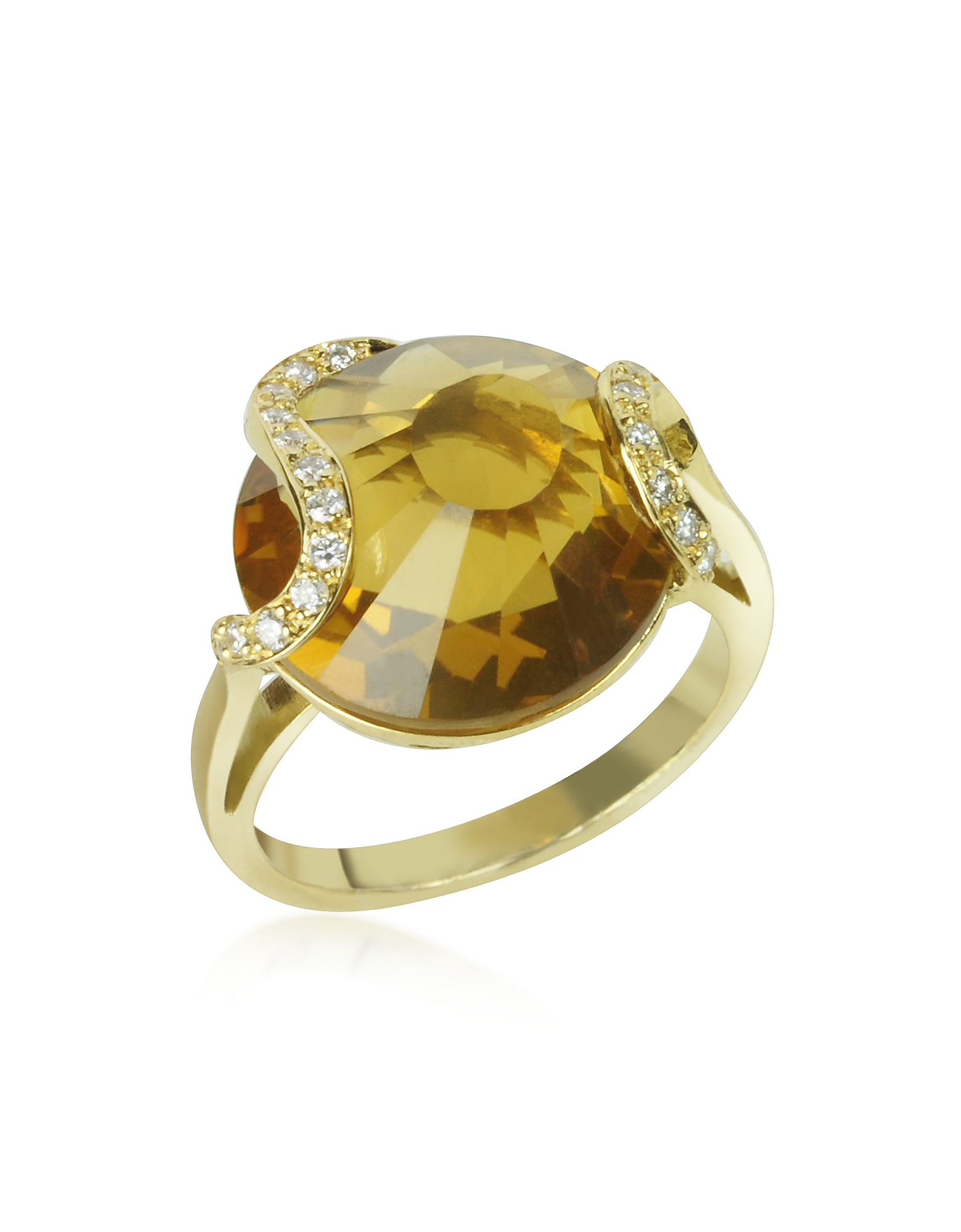 Incanto Royale Designer Rings, Citrine and Diamond 18K Gold Ring
