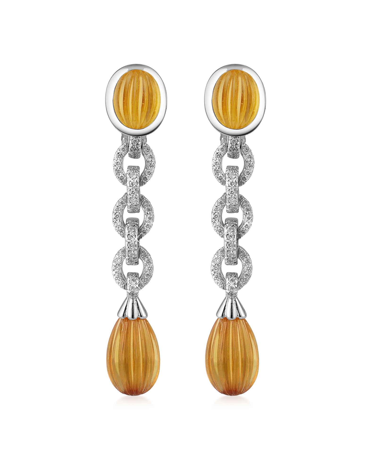 Roma Imperiale Designer Earrings, Carved Gemstone 18K Gold and Diamond Drop Earrings