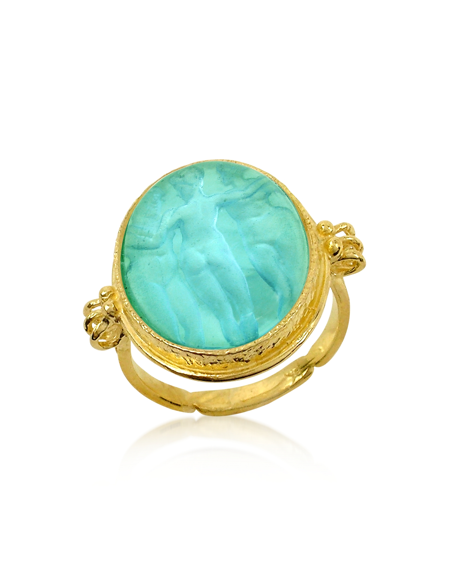 Tagliamonte Designer Rings, Three Graces - 18K Gold Turquoise Vitreous Paste Cameo Ring