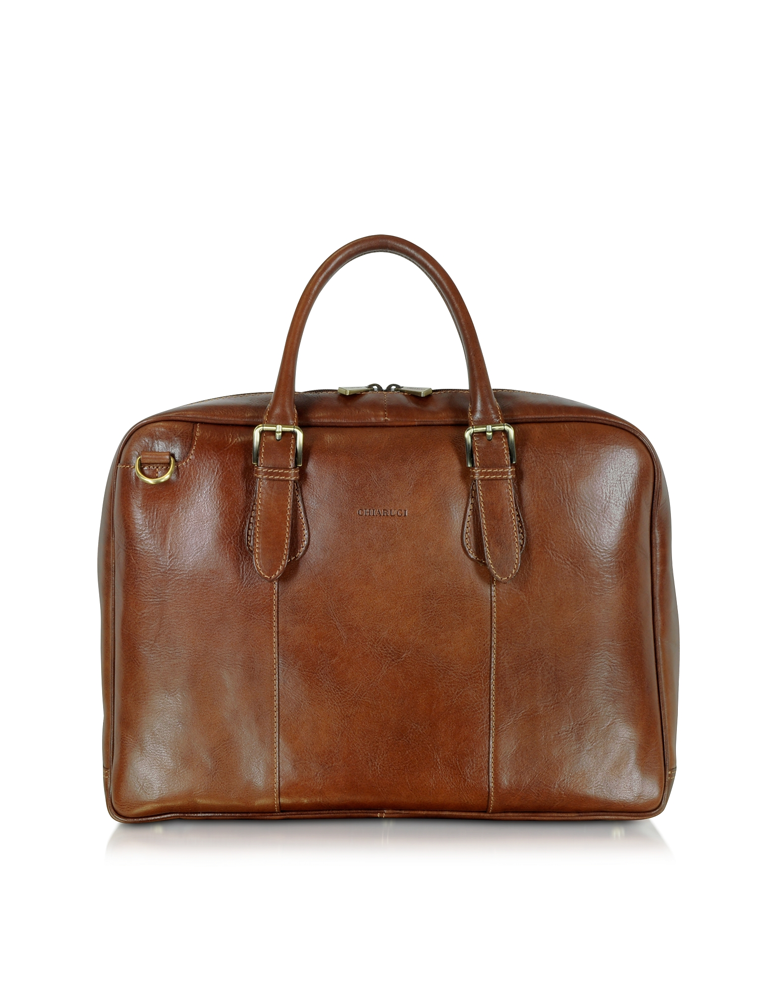 Chiarugi Designer Briefcases, Brown Double Handle Leather Briefcase