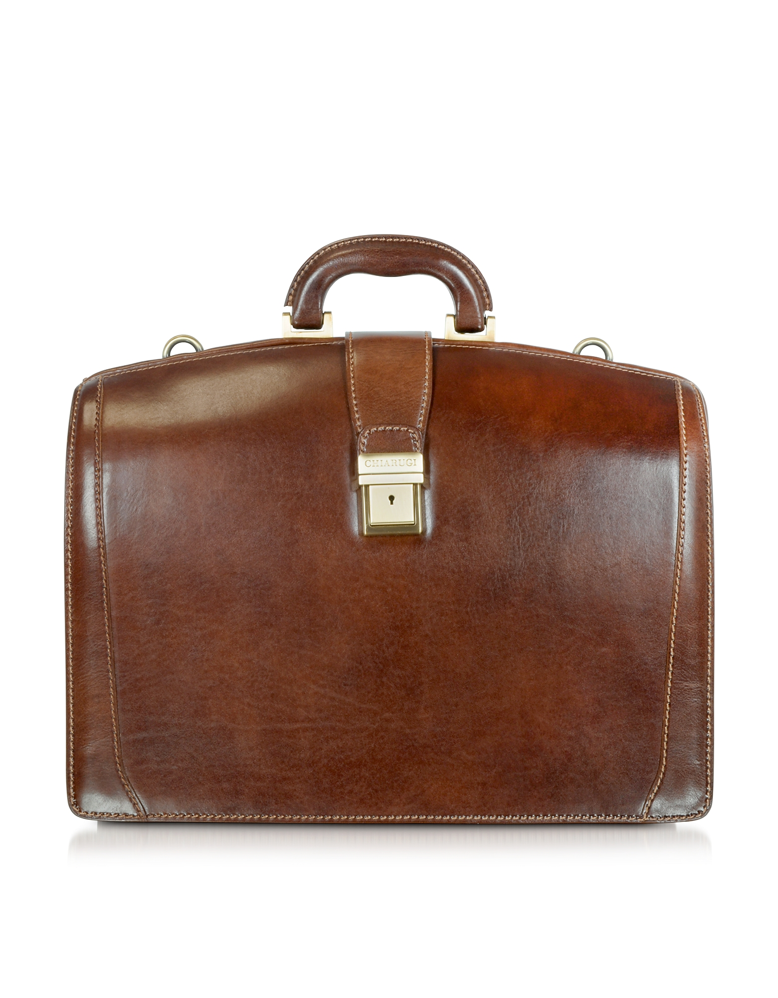 Chiarugi Designer Briefcases, Brown Leather Buckled Diplomatic Briefcase