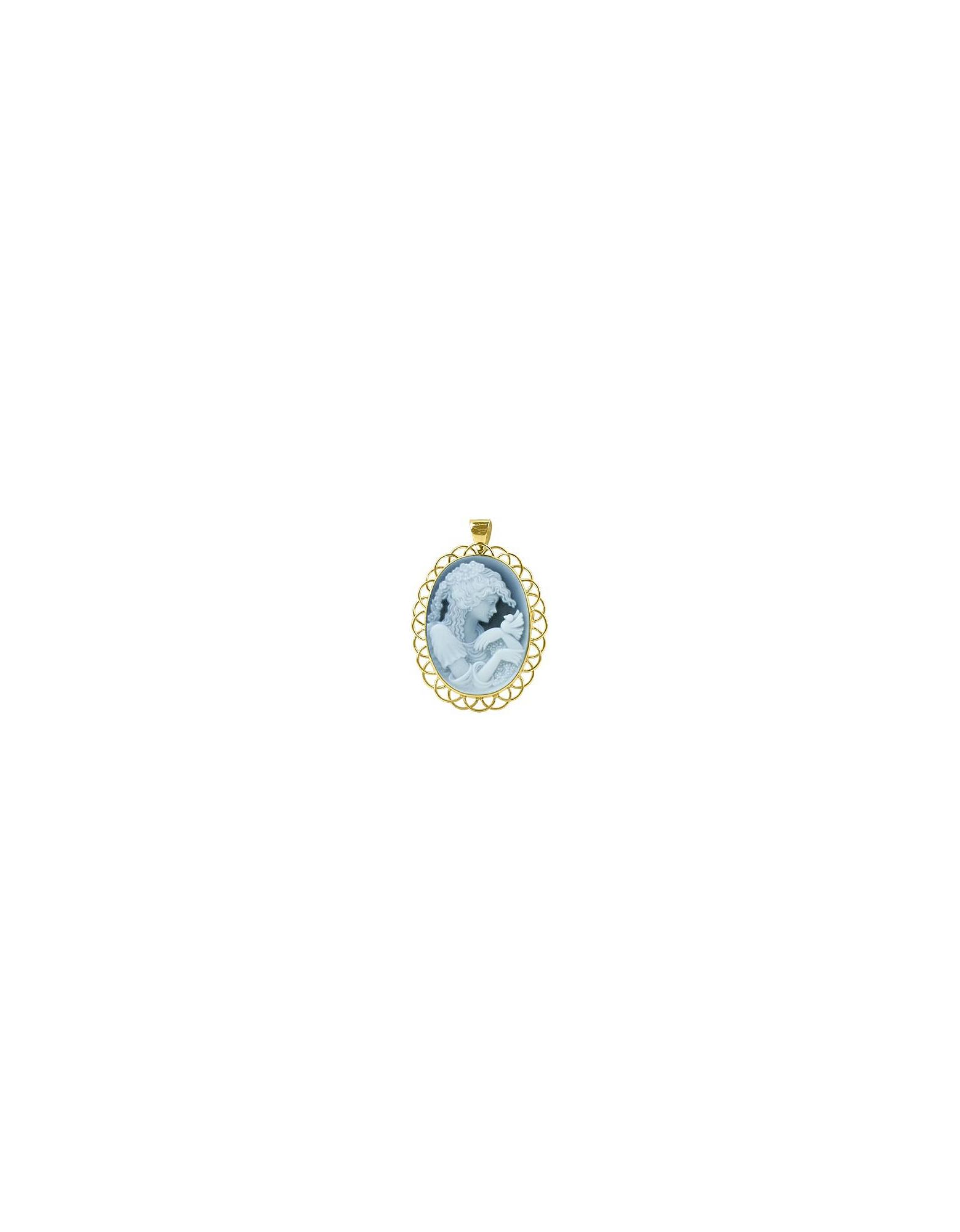 Del Gatto Designer Necklaces, Bucolic Agate Stone Cameo Pendant / Pin
