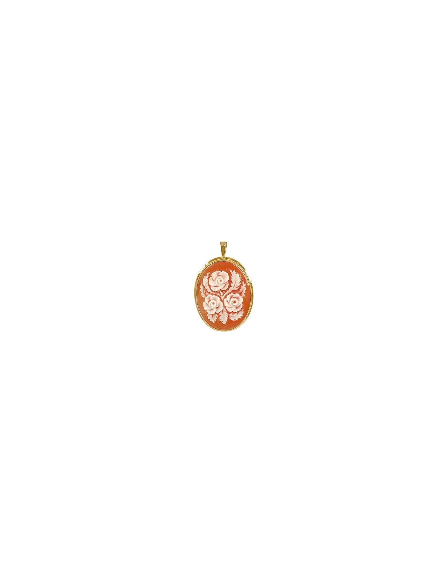 Del Gatto Designer Necklaces, Roses Cornelian Cameo Pendant / Pin