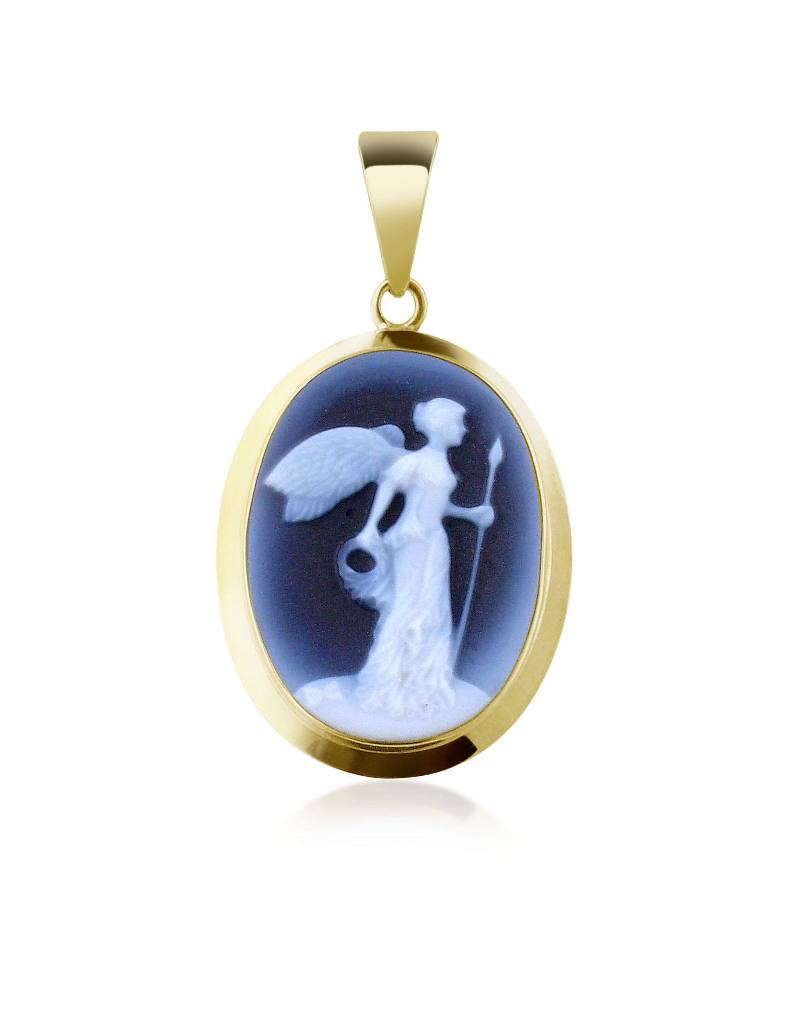 Del Gatto Designer Necklaces, Winged Victory Agate Stone Cameo Pendant