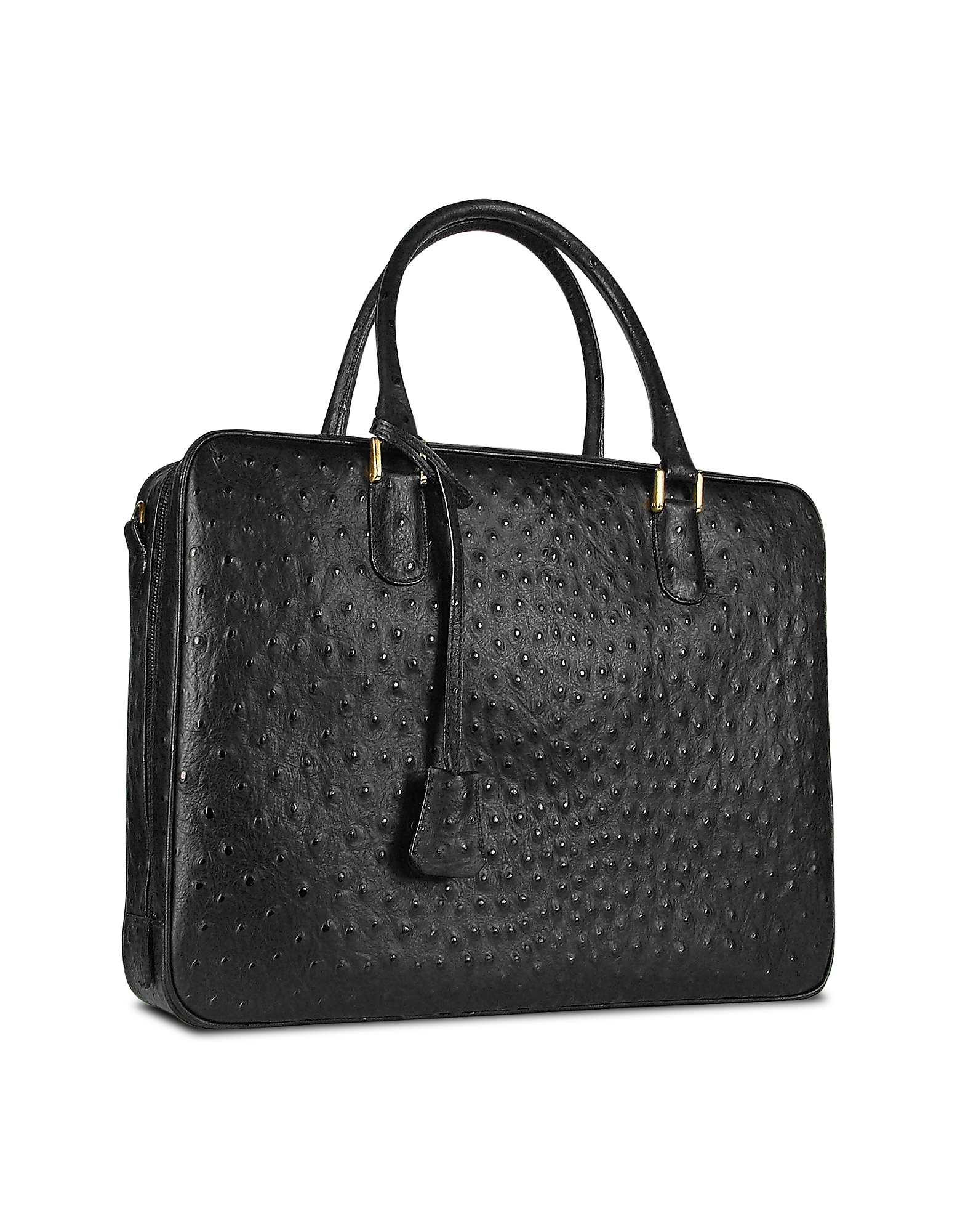 Fontanelli Designer Briefcases, Black Ostrich Stamped Leather Briefcase