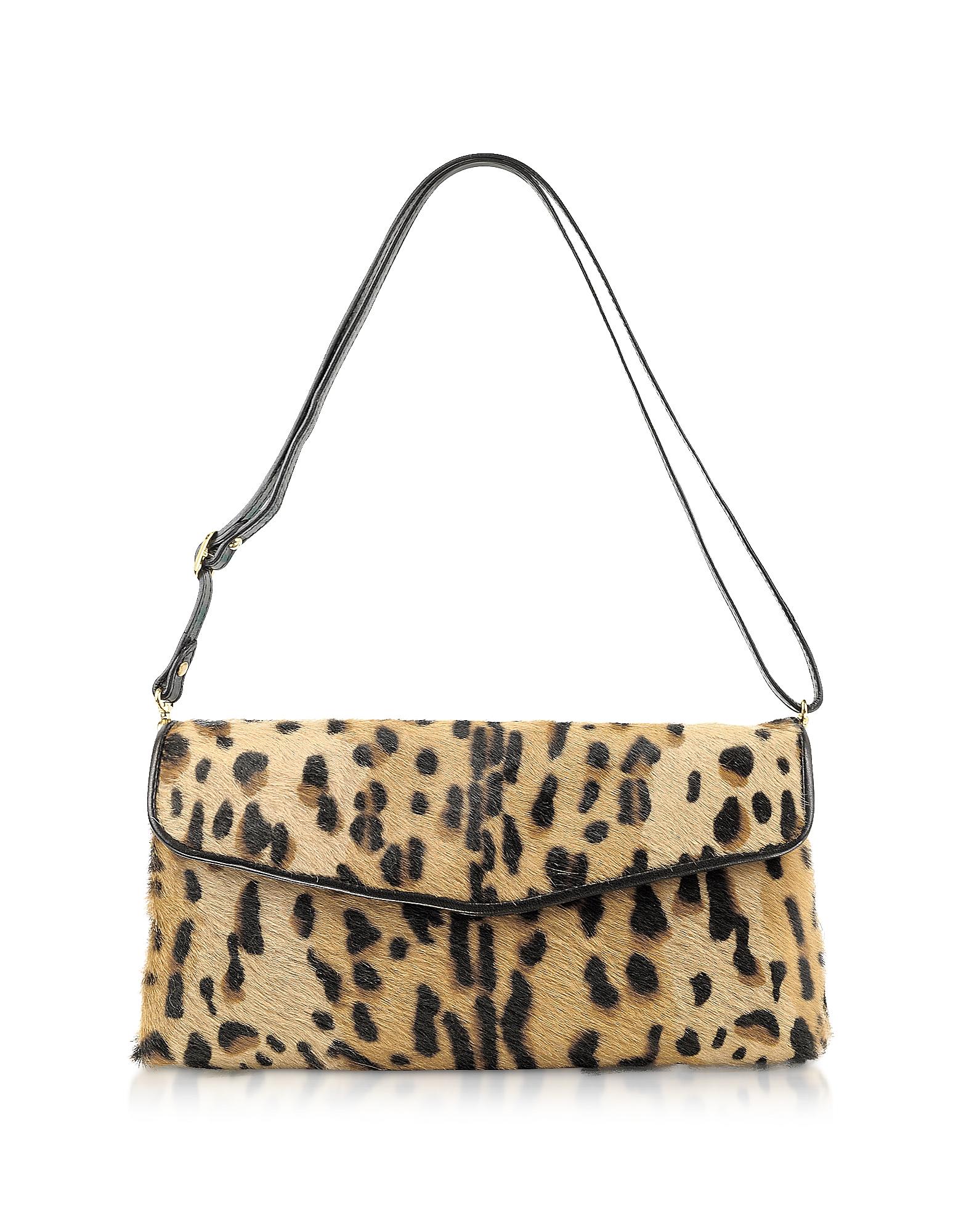 Fontanelli Designer Handbags, Calfhair Leopard Print Shoulder Bag