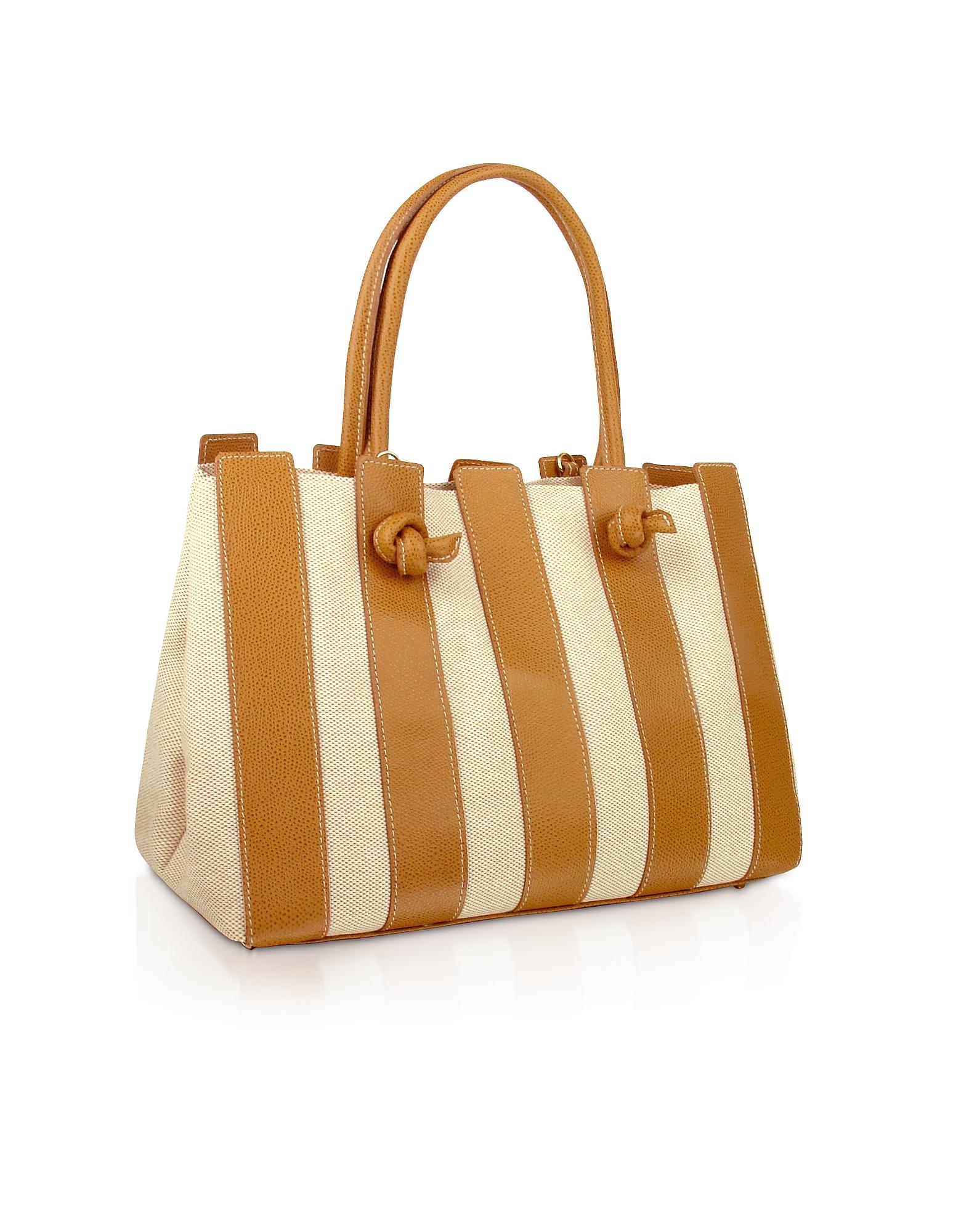 Fontanelli Designer Handbags, Canvas & Leather Italian Tote Handbag