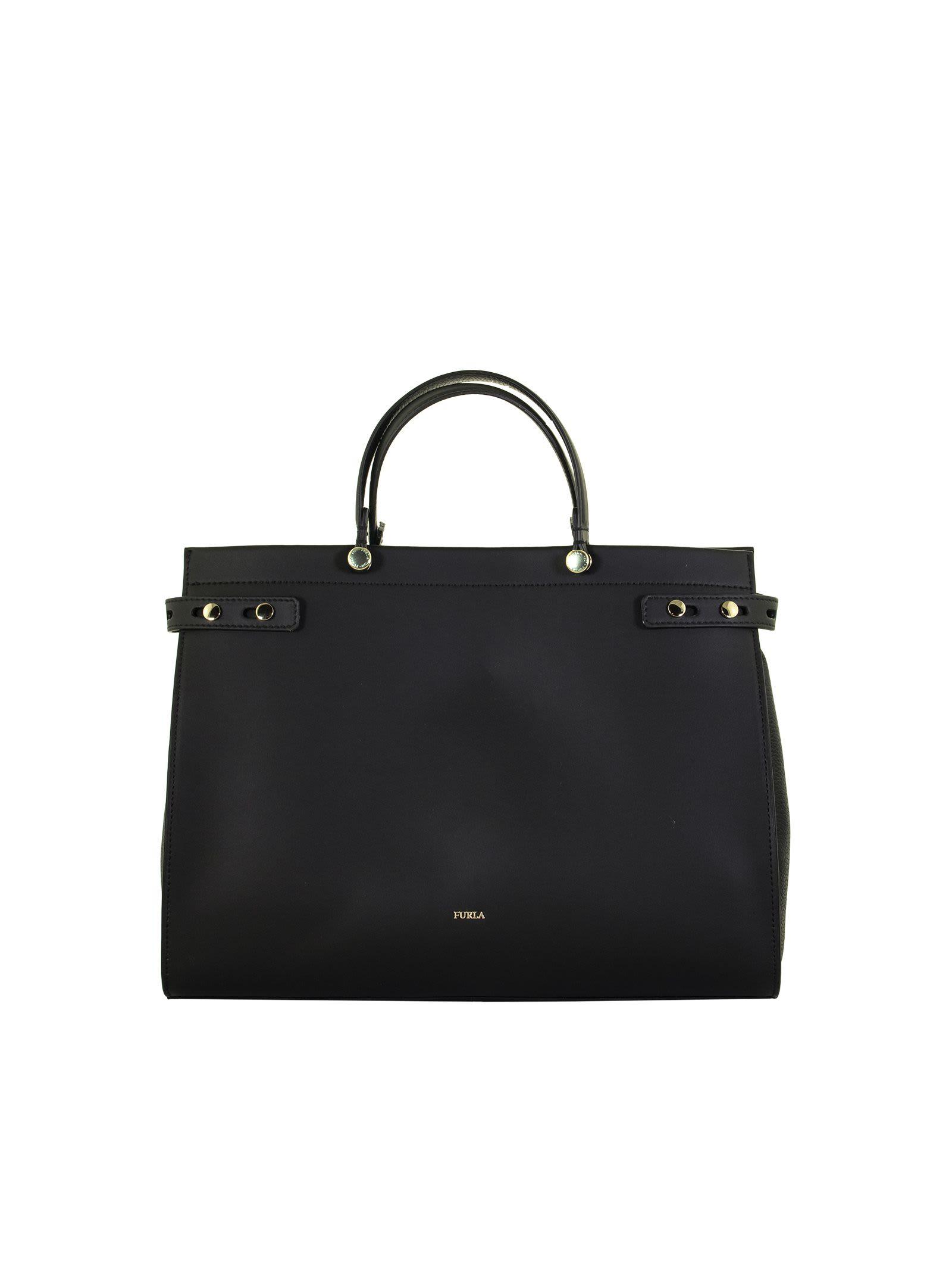 Furla Lady M L Tote Onyx Bag Leather