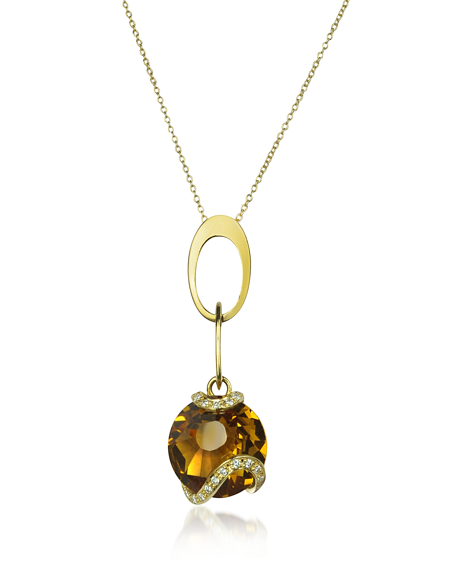 Incanto Royale Designer Necklaces, Citrine and Diamond 18K Gold Charm Necklace