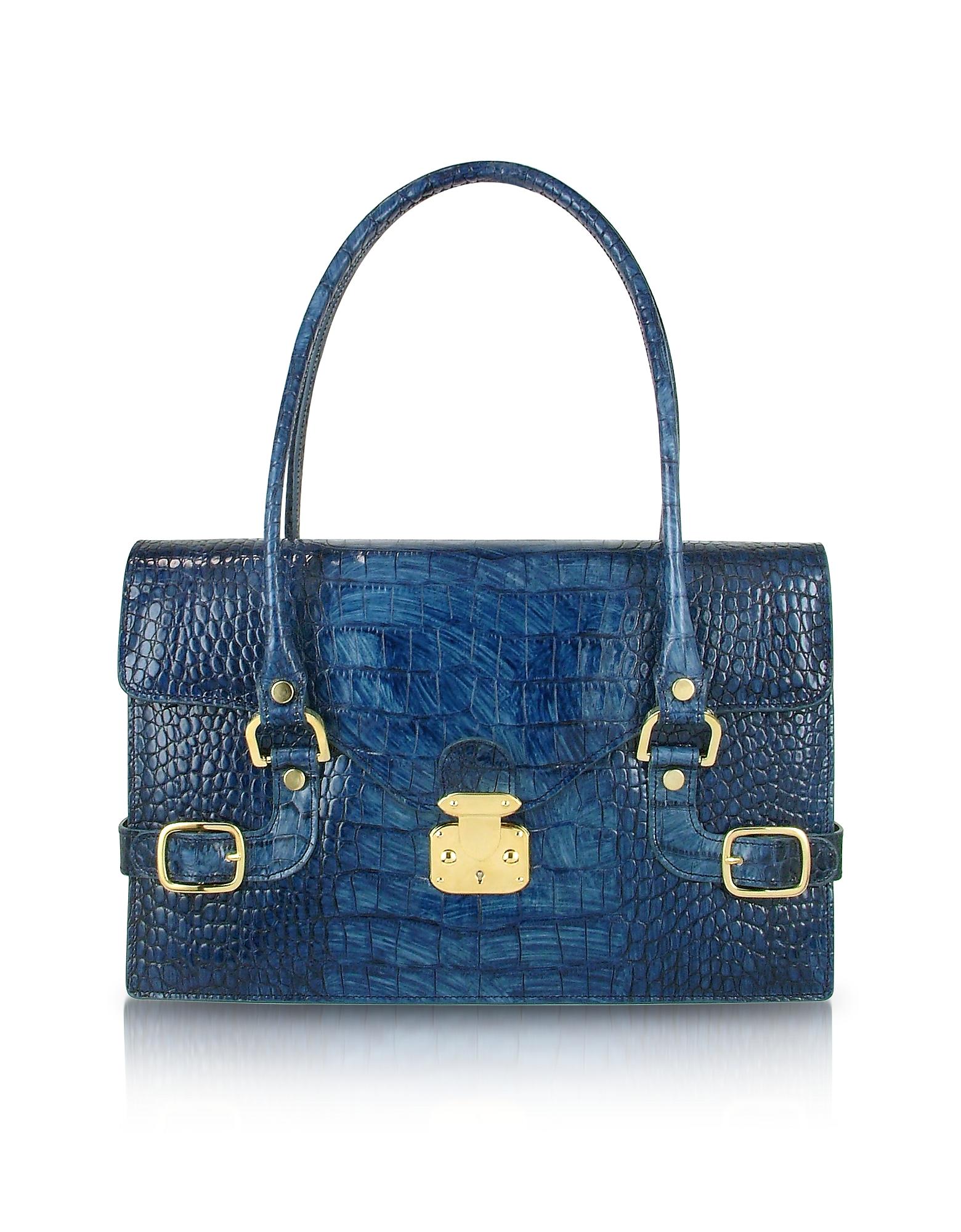 L.A.P.A. Designer Handbags, Indigo Blue Croco Stamped Italian Leather Shoulder Bag