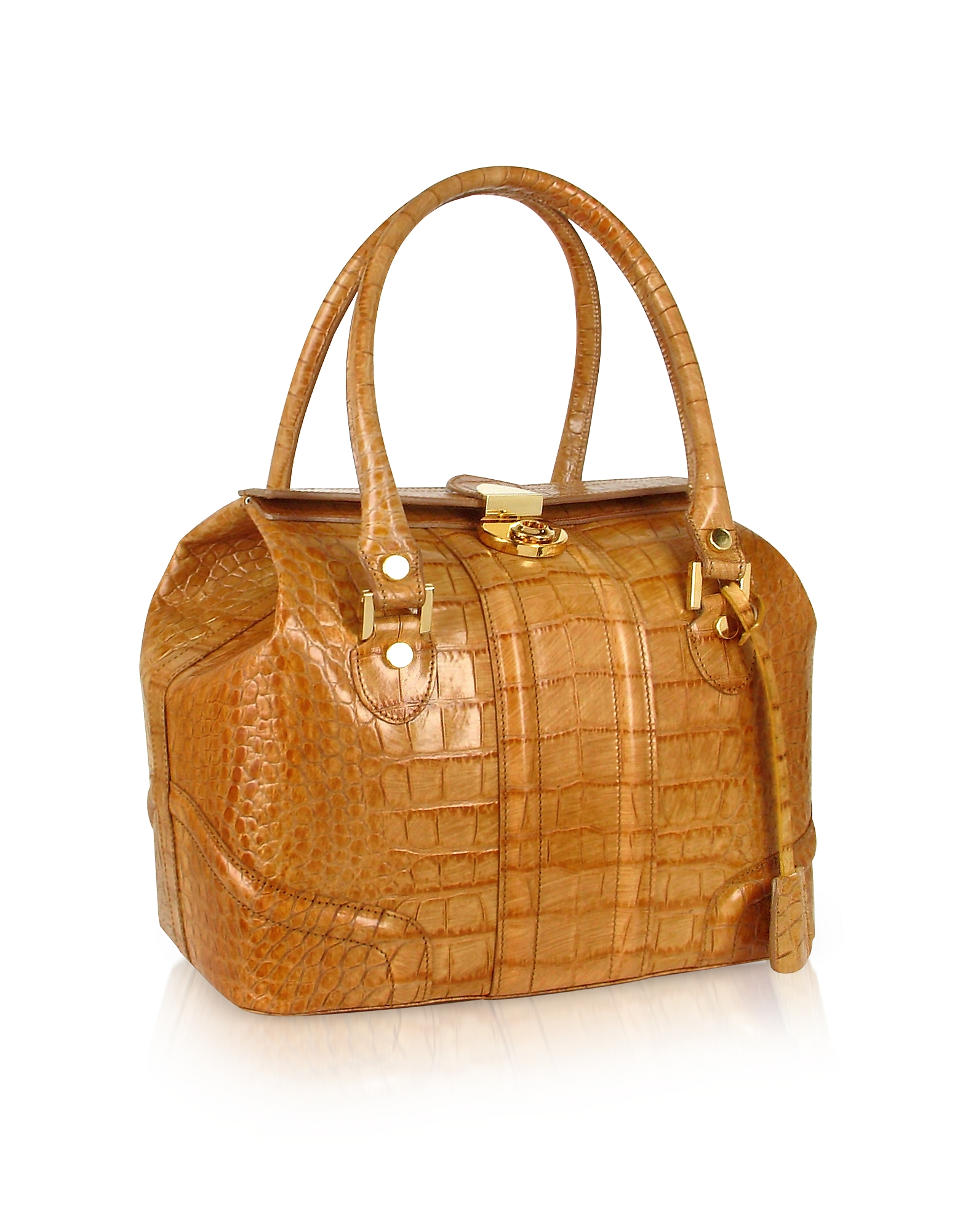 L.A.P.A. Designer Handbags, Sand Croco Stamped Italian Leather Tote Bag