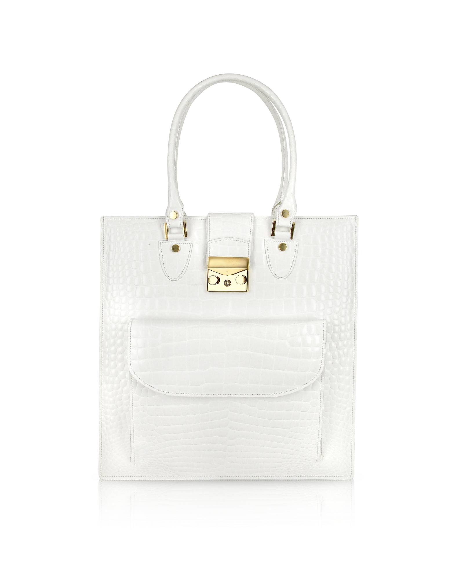 L.A.P.A. Designer Handbags, White Croco Stamped Leather Tote Bag
