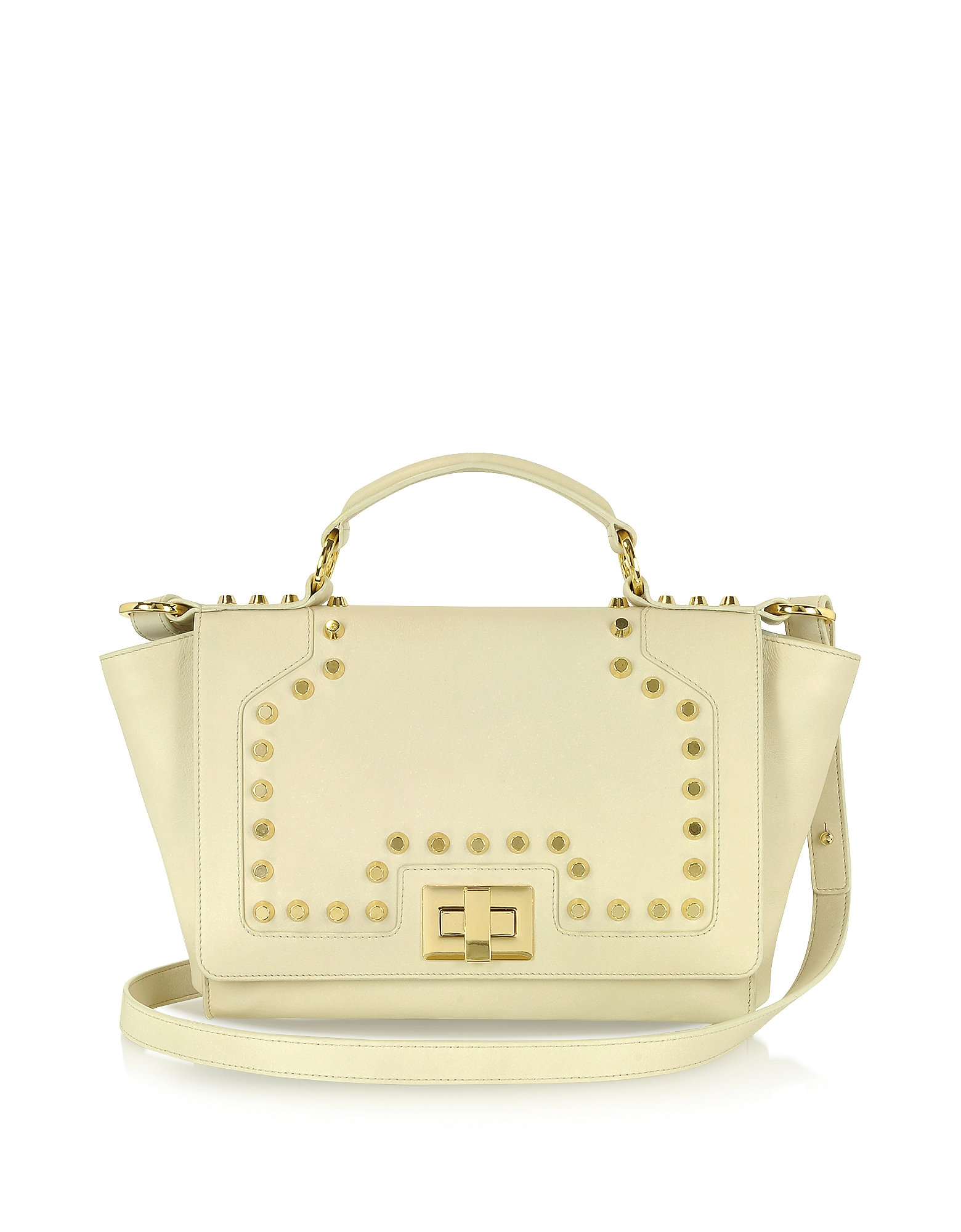 Leonardo Delfuoco Designer Handbags, Studded Beige Leather iPad Bag