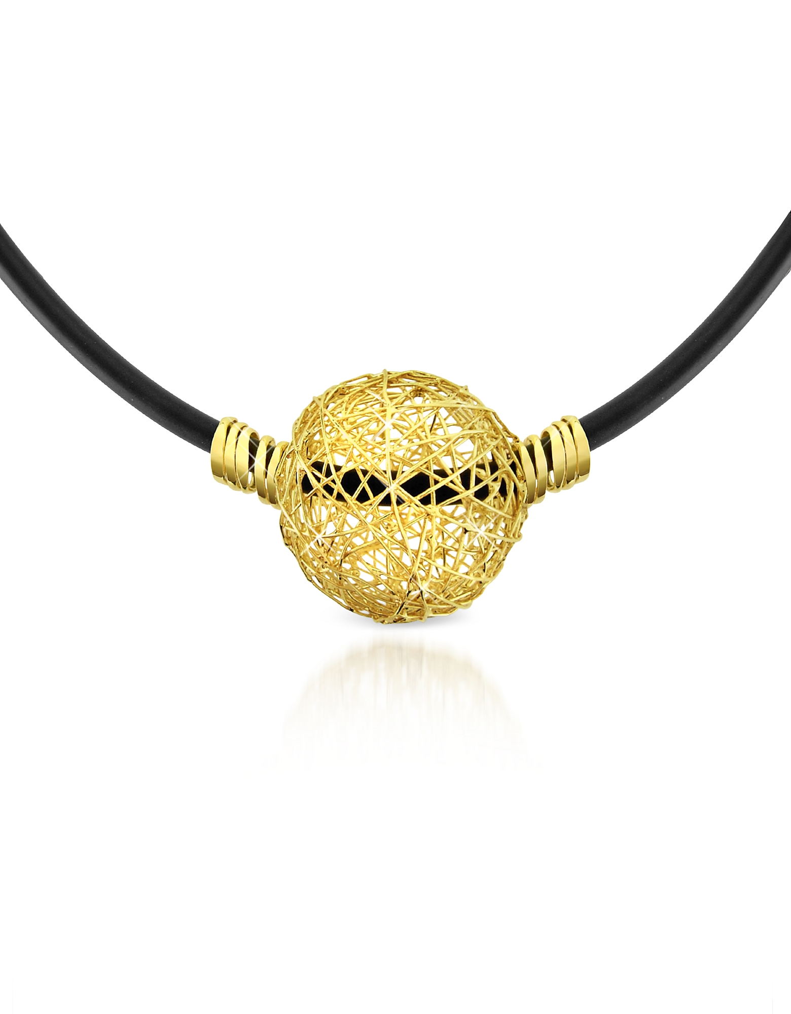 Orlando Orlandini Designer Necklaces, Arianna - 18K Yellow Gold Wire Pendant Rubber Necklace