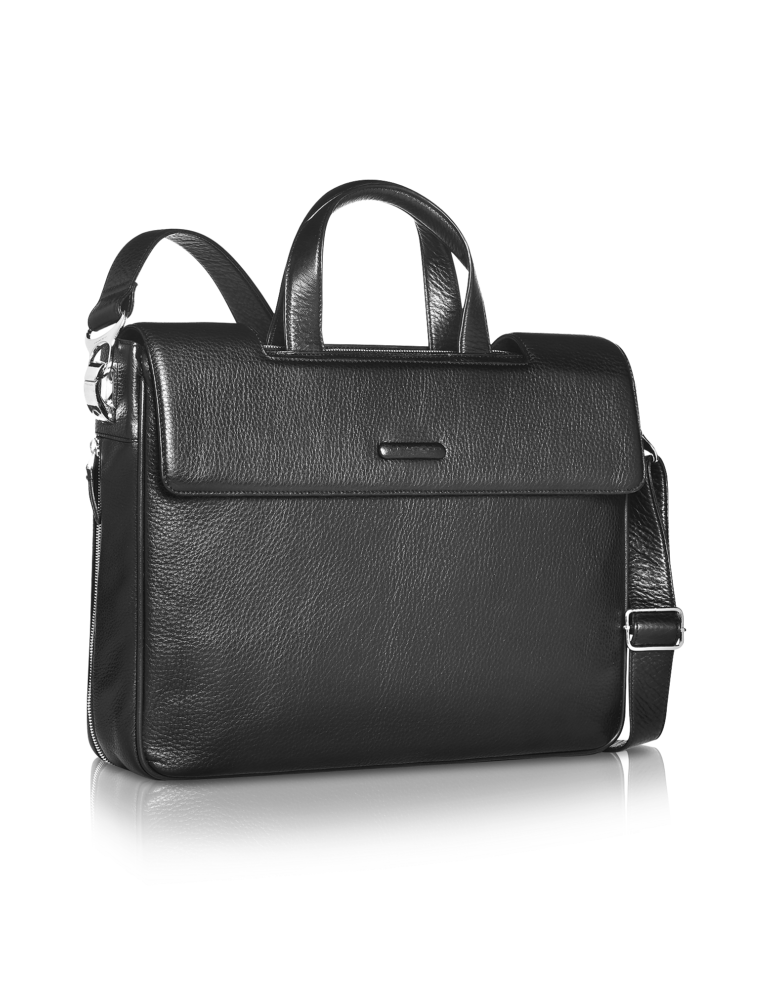 Piquadro Designer Briefcases, Modus - Expandable Black Calfskin Two-Handle Briefcase
