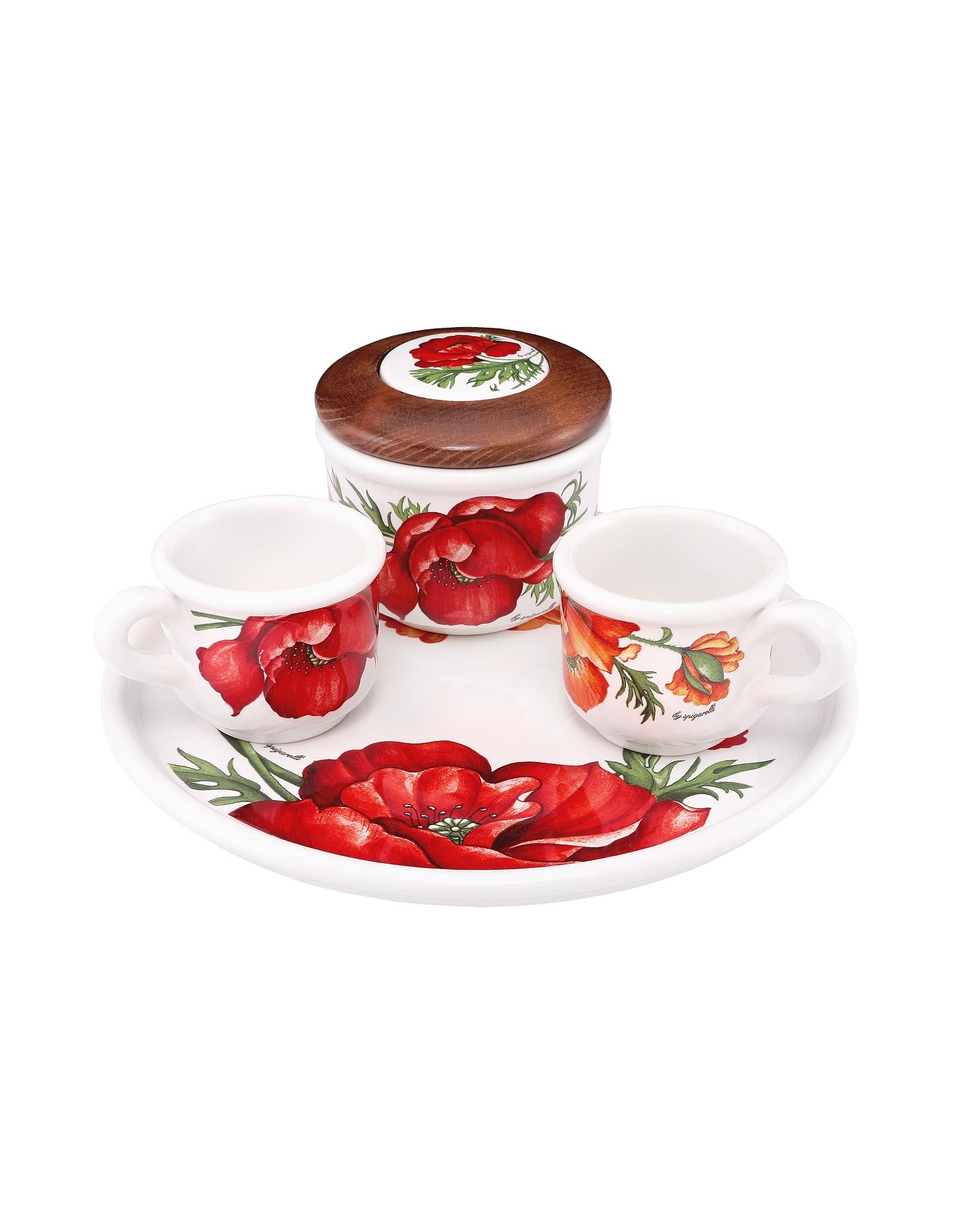 Spigarelli Designer Kitchen & Dining, Sugar and Mocha Cups Poppy Ceramic Set w/Tray
