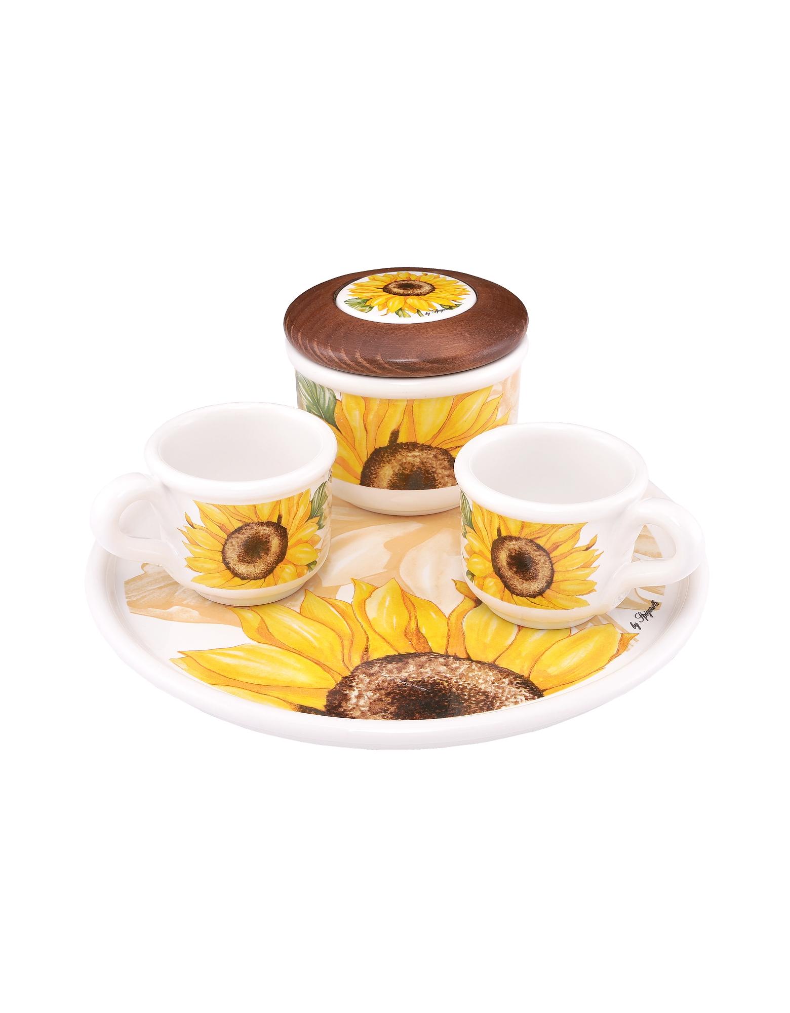 Spigarelli Designer Kitchen & Dining, Sugar and Mocha Cups Sunflower Ceramic Set w/Tray