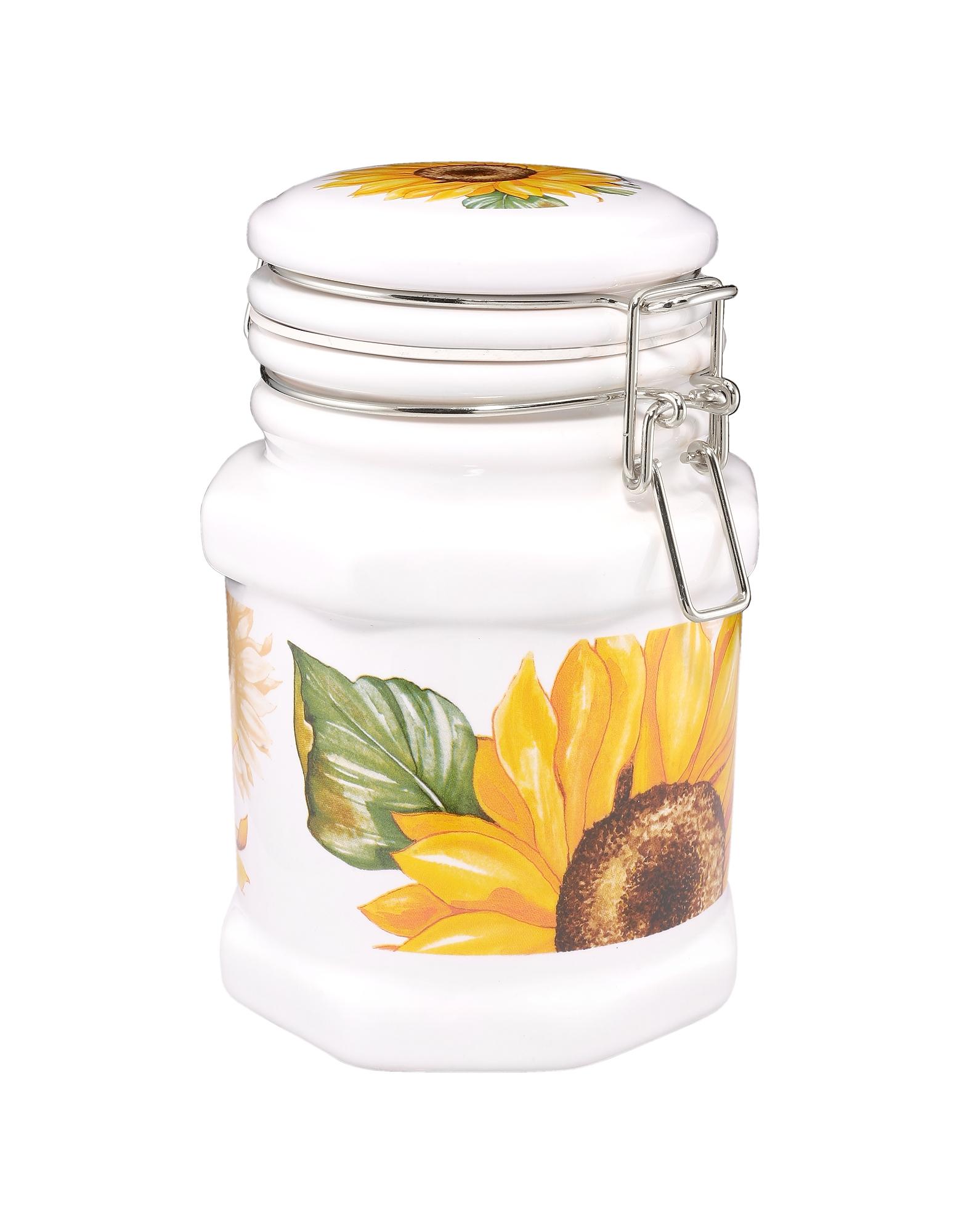 Spigarelli Designer Kitchen & Dining, Sunflower Airtight Seal Ceramic Canister