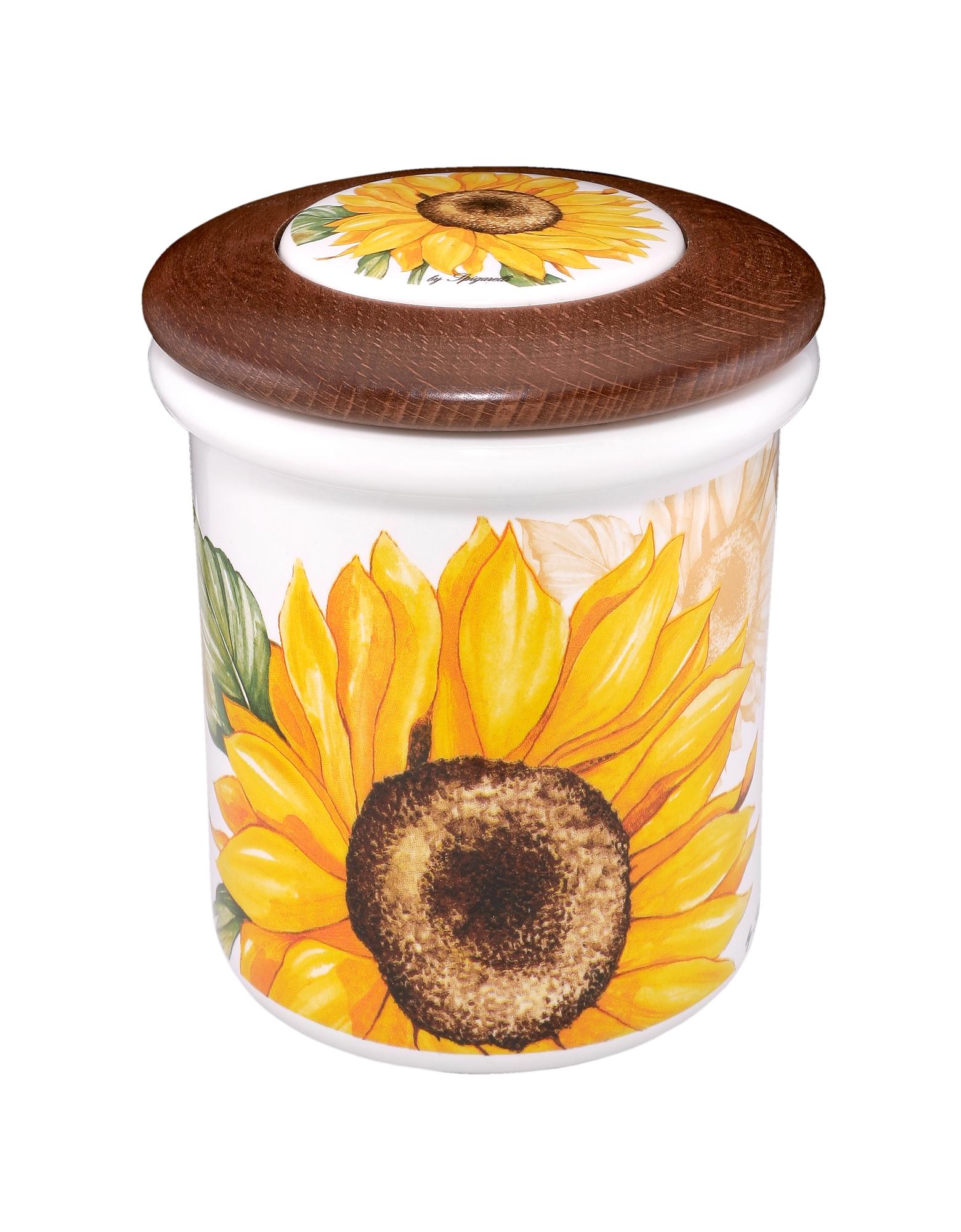 Spigarelli Designer Kitchen & Dining, Sunflower Ceramic and Wood Jar